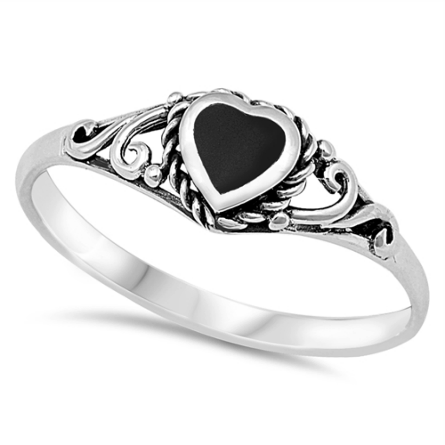 Womens and girls black onyx heart ring