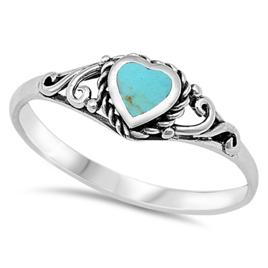 Womens and girls turquoise heart ring