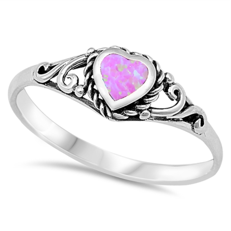 Pink opal heart ring