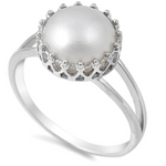.925 Sterling Silver Pearl Crown Ladies Ring Size 4-11 Tiara Princess Solitaire