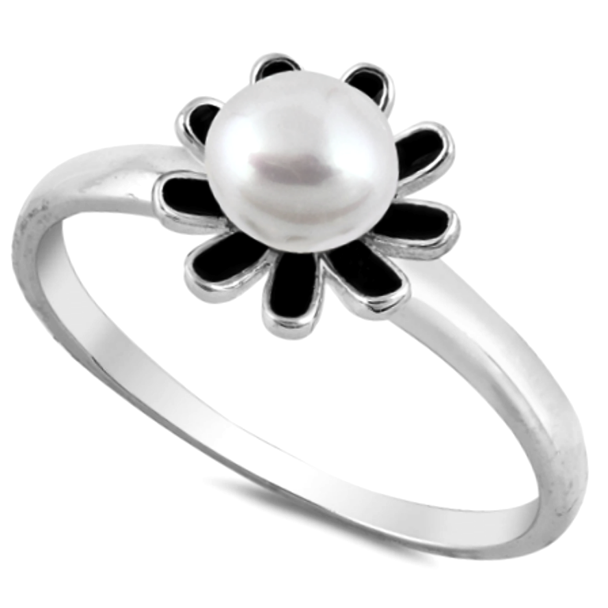Flower Pearl with Black Onyx Petals .925 Sterling Silver Ring Sizes 4-10