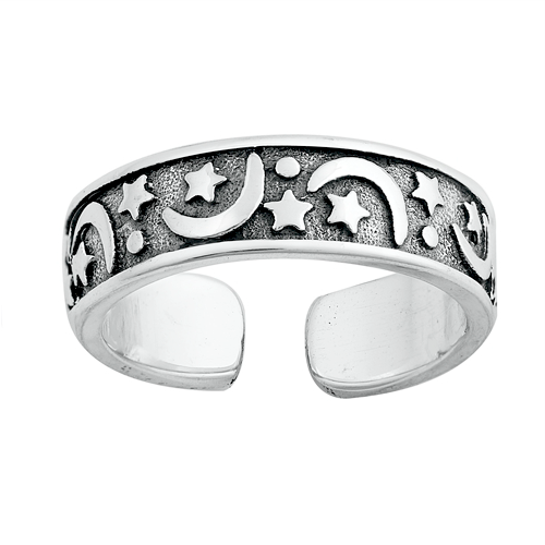 Moon and stars adjustable ring