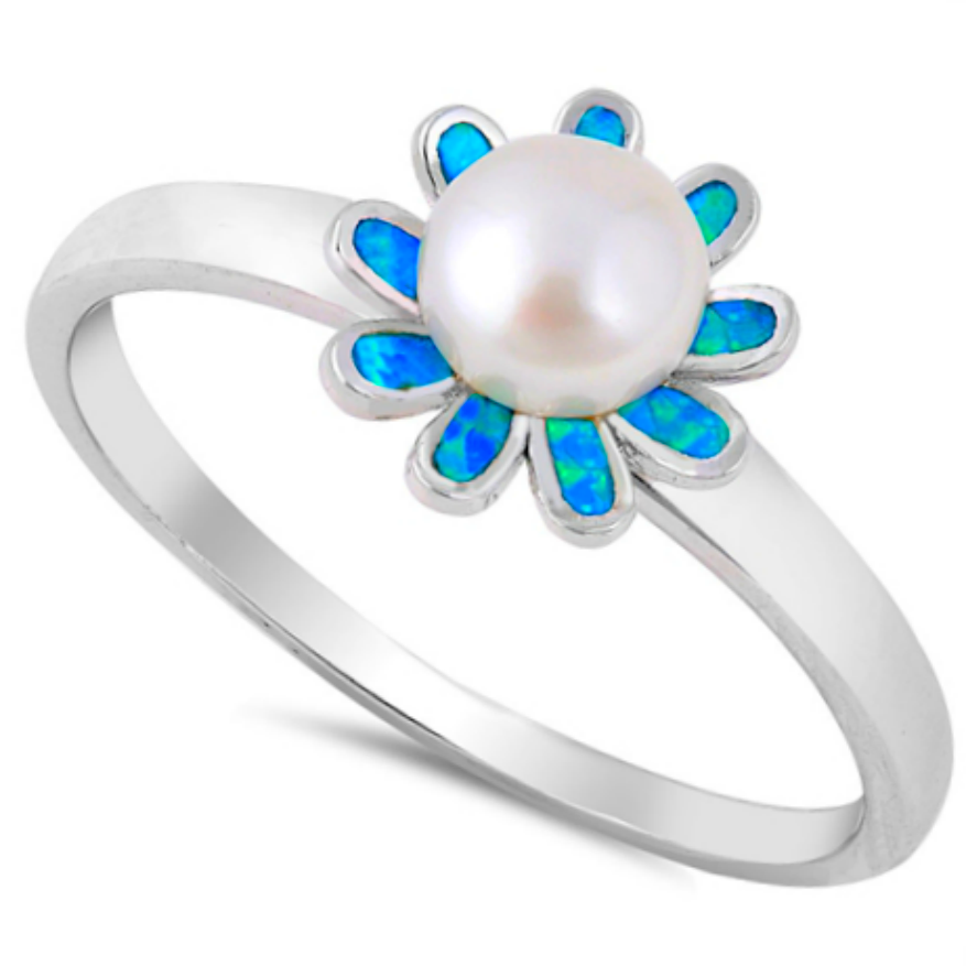 Sparkling blue opal ladies flower ring with freshwater white pearl accent