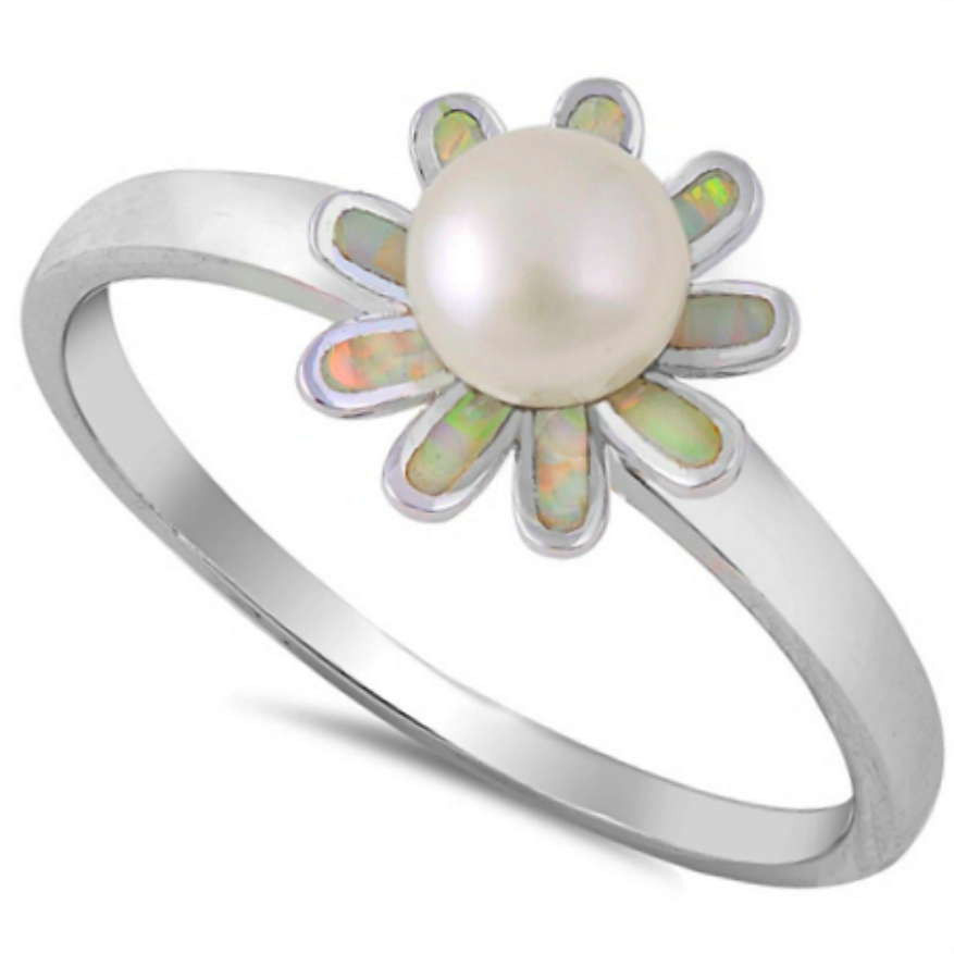 Freshwater Pearl and White Opal bloom in this elegant silver flower ring