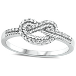 Treat yourself to this double infinity knot ring crafted with silver and clear gemstones