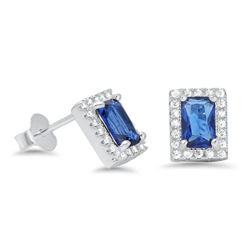 Womens blue sapphire halo stud earrings