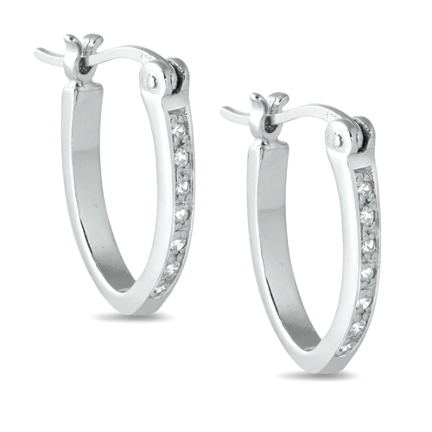 Womens huggie hoop oval cubic zirconia earrings