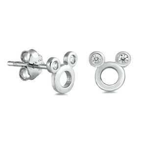 .925 Sterling Silver Mouse Circle CZ Ladies and Kids Stud Earrings