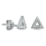 Womens and girls triangle cubic zirconia earrings
