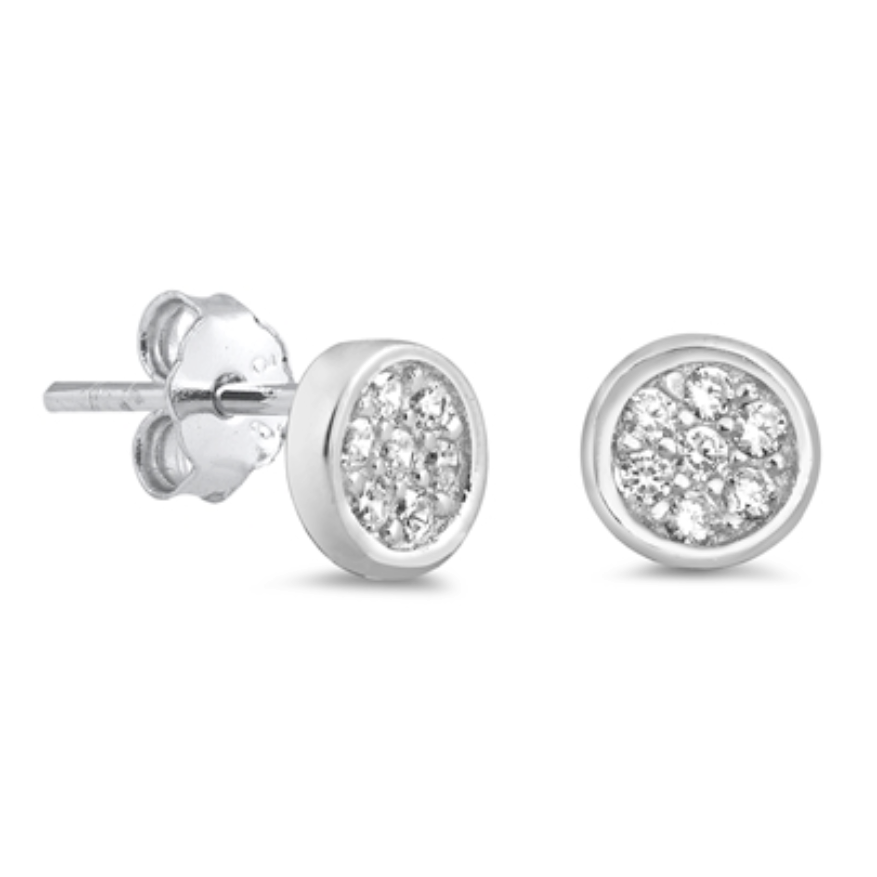Womens and girls circle CZ earring studs