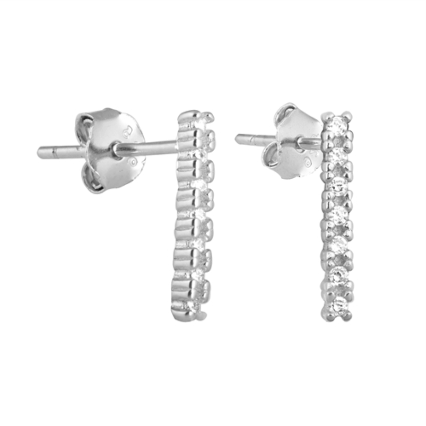 Womens silver  bar earrings
