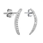 .925 Sterling Silver Moon Bar CZ Ladies and Girls Stud Earrings