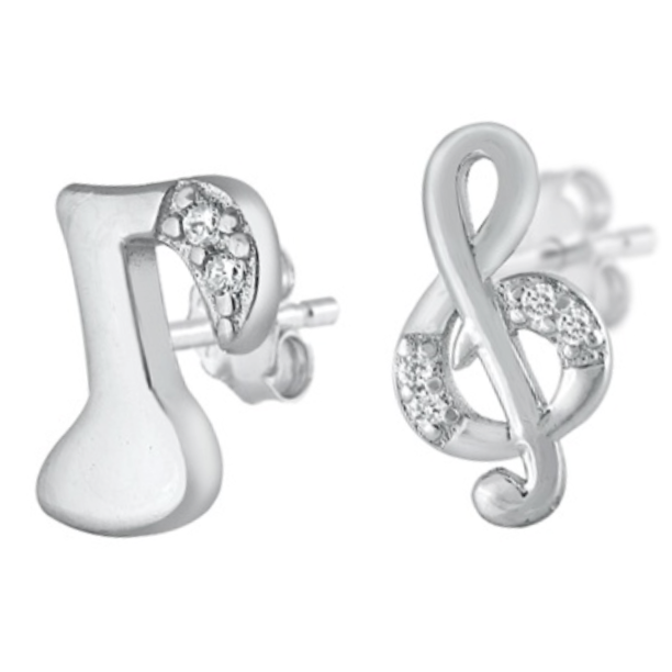 Womens and girls mismatched musical note earrings
