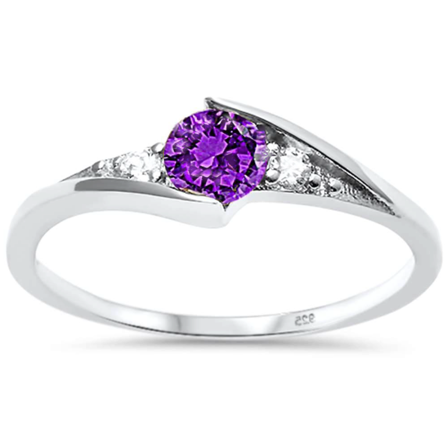 Womens and girls Purple February birth stone ring