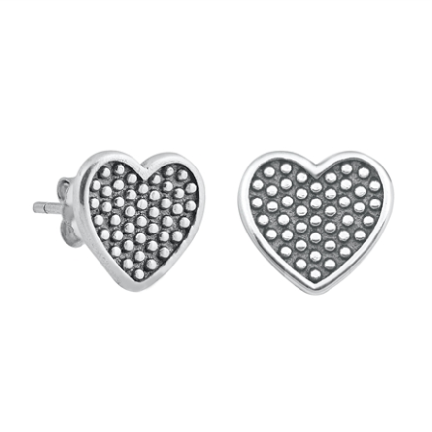 Womens and girls polka dot heart earrings