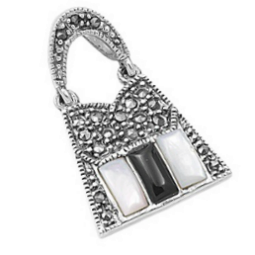 Fashionistas unite with this cute hobo style bag pendant in Marcasite with Mother of Pearl and Black Onyx