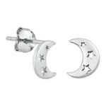Womens and girls crescent moon and star earrings