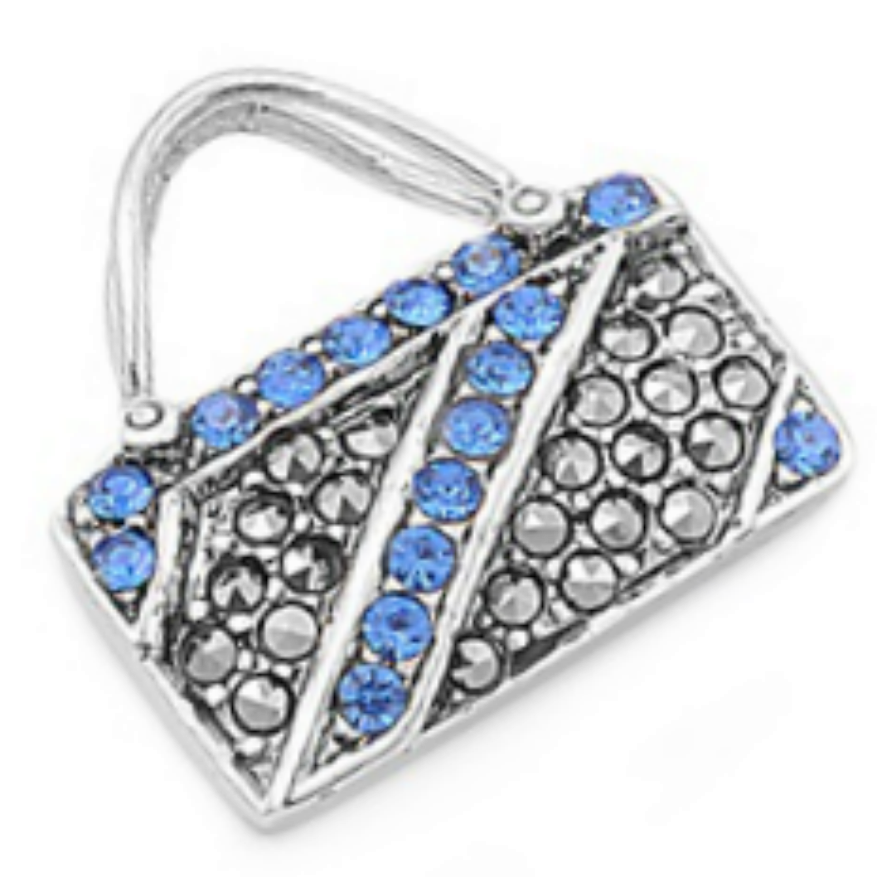 Blue Sapphire Baguette Purse Pendant in Sterling Silver