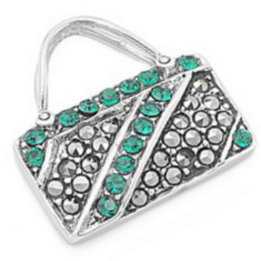 Luicious Emerald studded baguette purse ladies pendant or charm in sterling silver