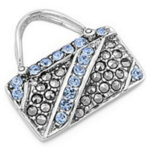 Aquamarine studded baguette purse ladies pendant or charm in sterling silver