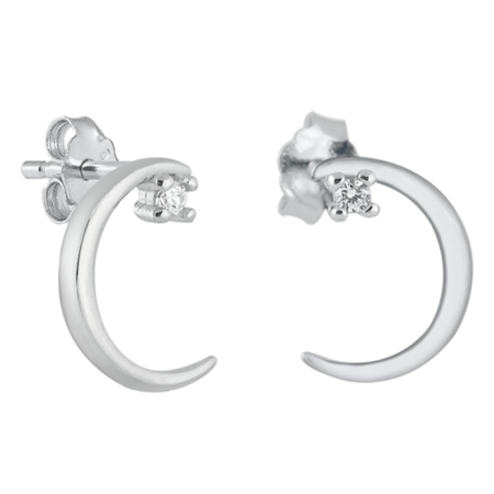 Womens and girls moon and star cubic zirconia earrings