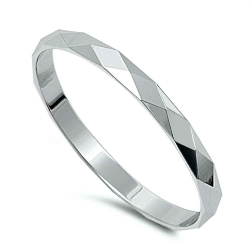 Womens mens and childrens diamond cut silver band ring