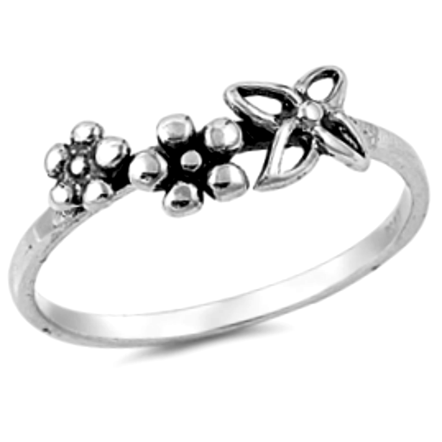 Spring flowers stackable womens ring in sterling silver