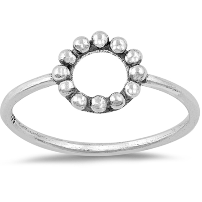 Beaded ball open circle ring