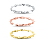 Twisted band midi rings Silver Rose and Yellow Gold
