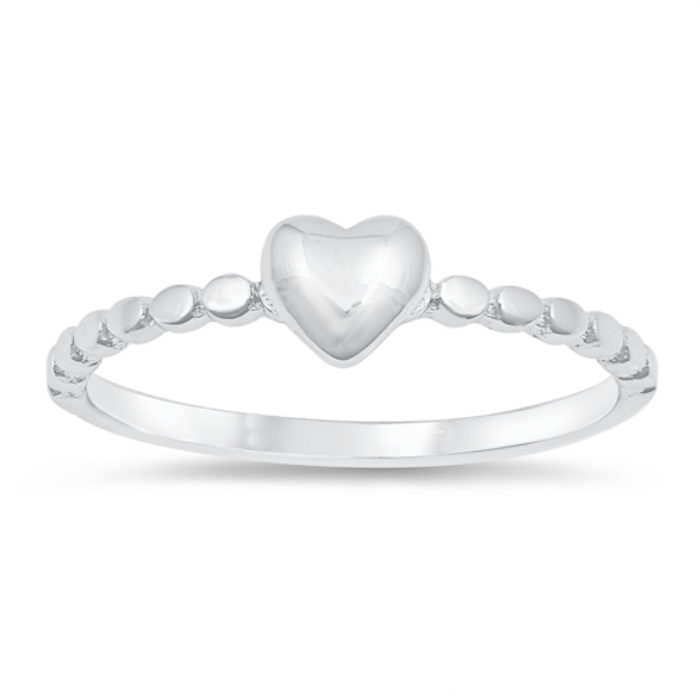 Tiny silver heart ring