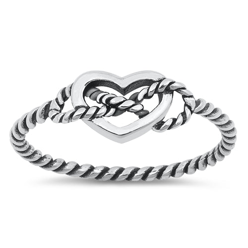 All wrapped up heart ring with infinity knot in sterling silver