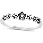 Sweet stackable flower ring in sterling silver for women and girls