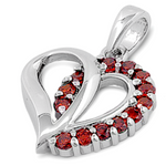 Garnet birth stone womens and girls heart pendant in sterling silver