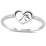 Womens and girls heart wave ring