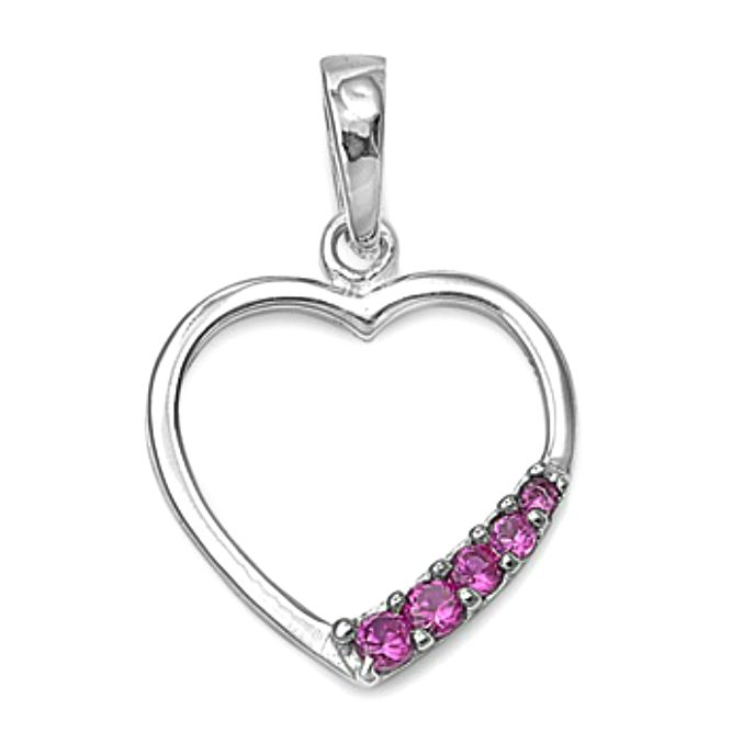 Traditional womens and girls red heart pendant crafted of sterling silver
