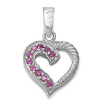 Sophisticated womens or girls ruby heart pendant for a July birthday gift