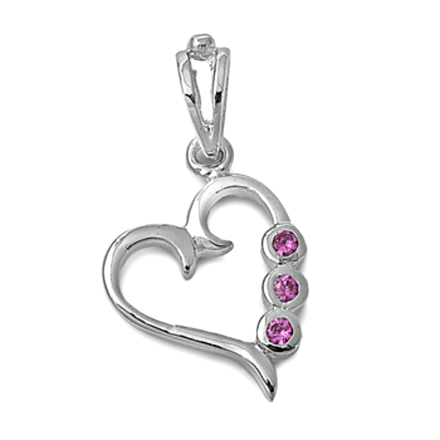 Sweet ruby heart pendant made in sterling silver for women and girls