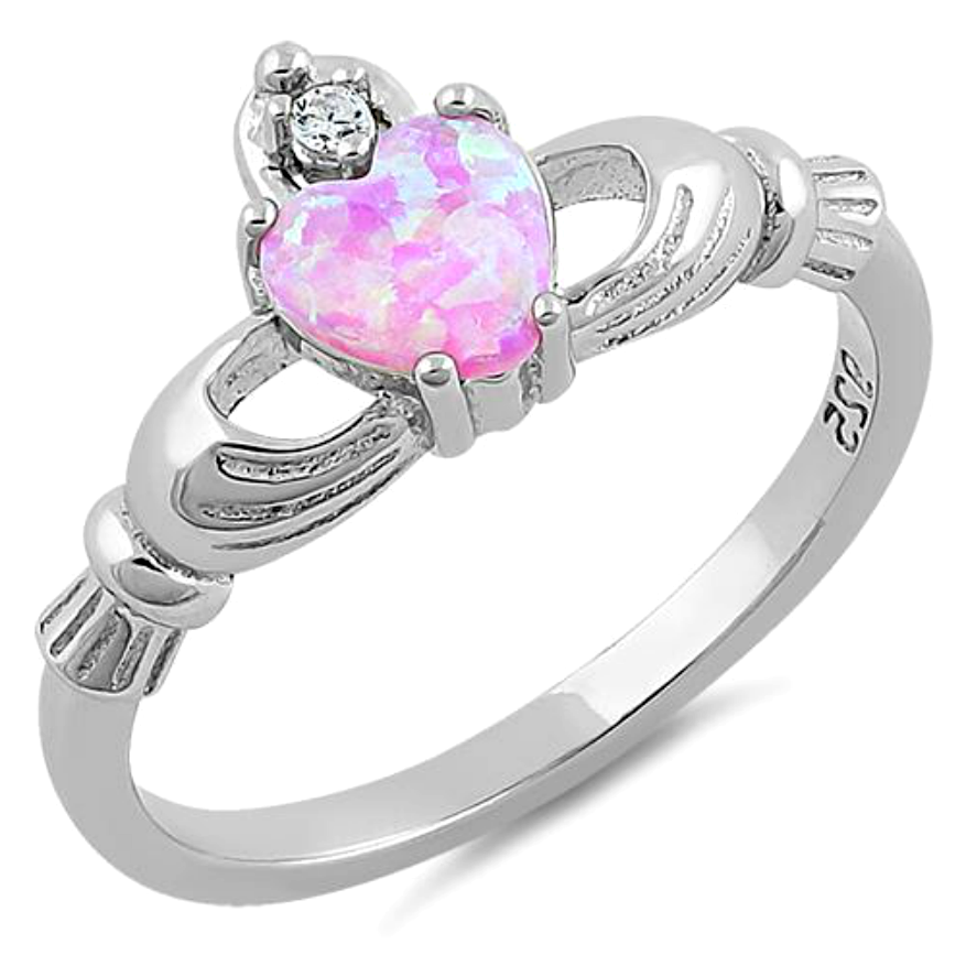 .925 Sterling Silver Pink Opal Claddagh Heart Ring Ladies and Kids Size  4-13 Midi
