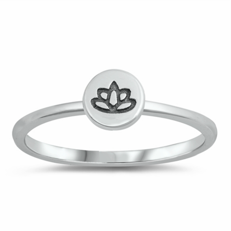 Womens and girls little lotus flower circle band ring