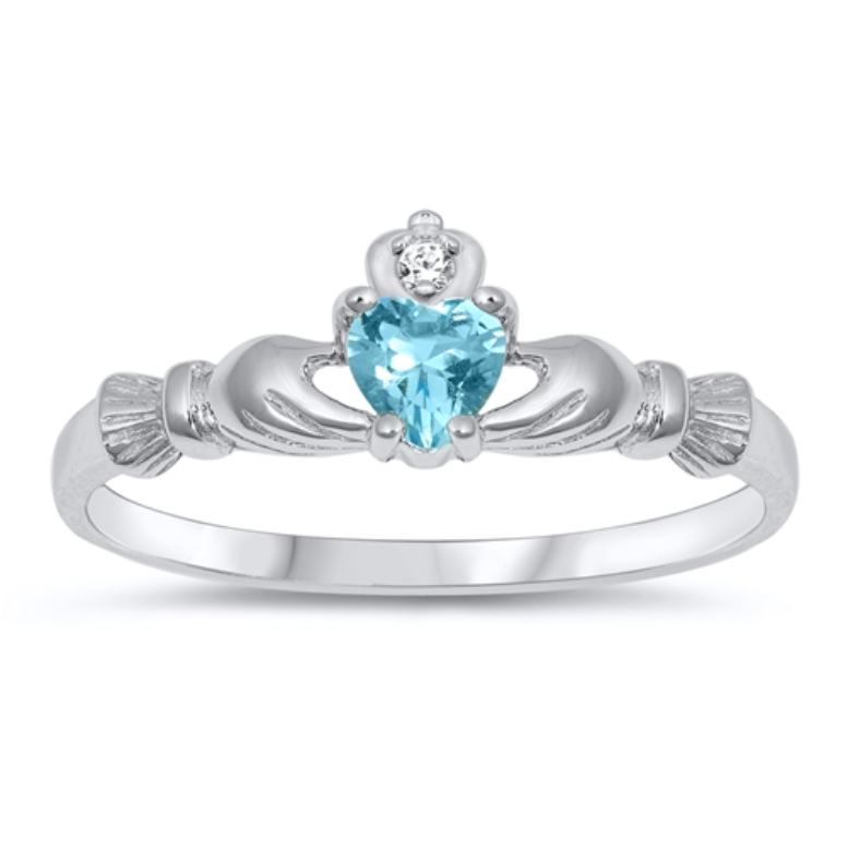 Womens and kids tiny aquamarine heart ring