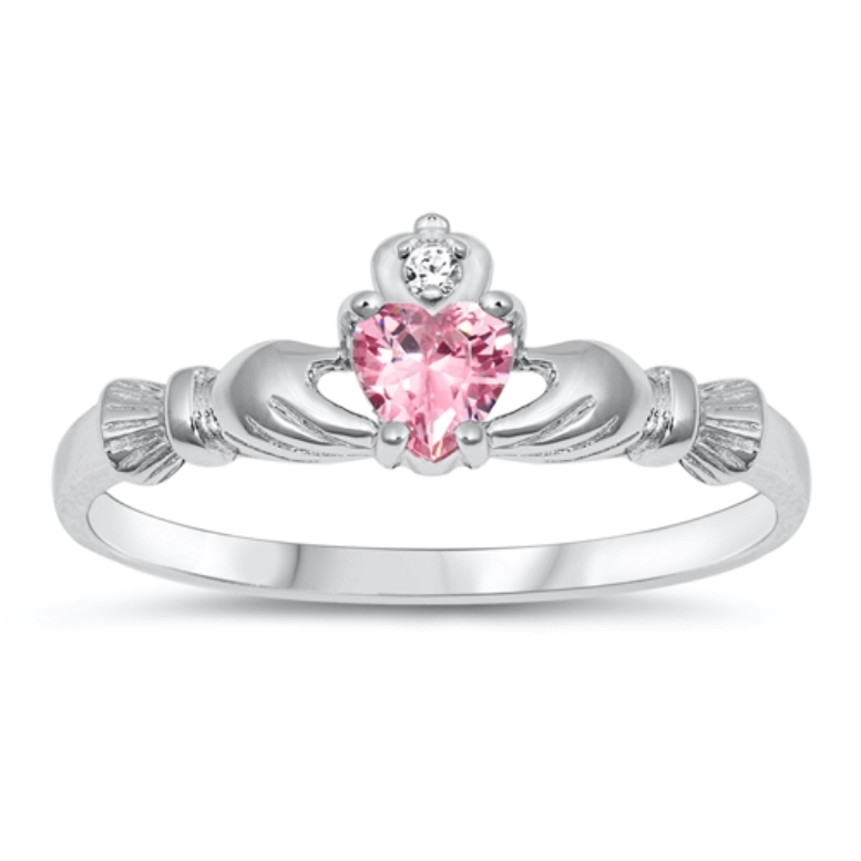 Womens and kids pink heart ring
