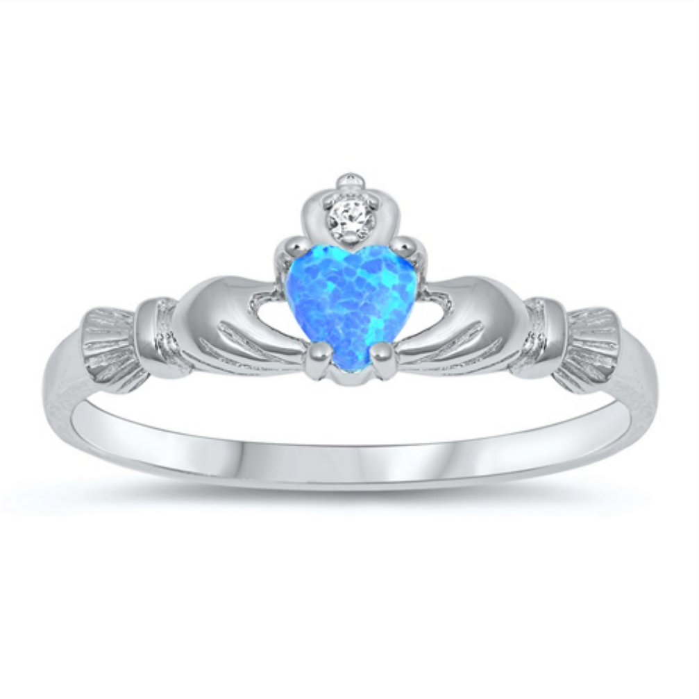 Womens and girls blue opal heart ring
