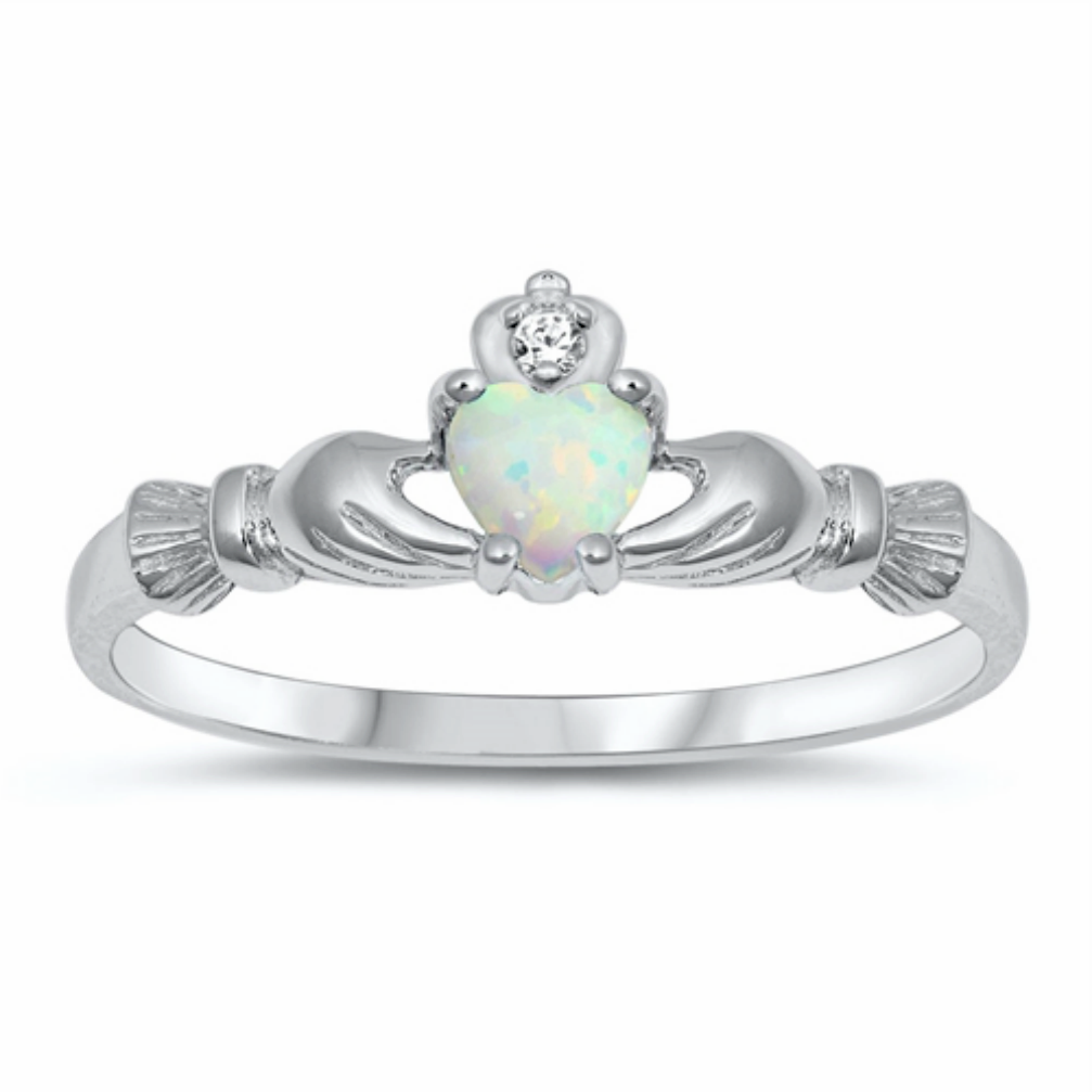 Womens and girls white opal heart ring