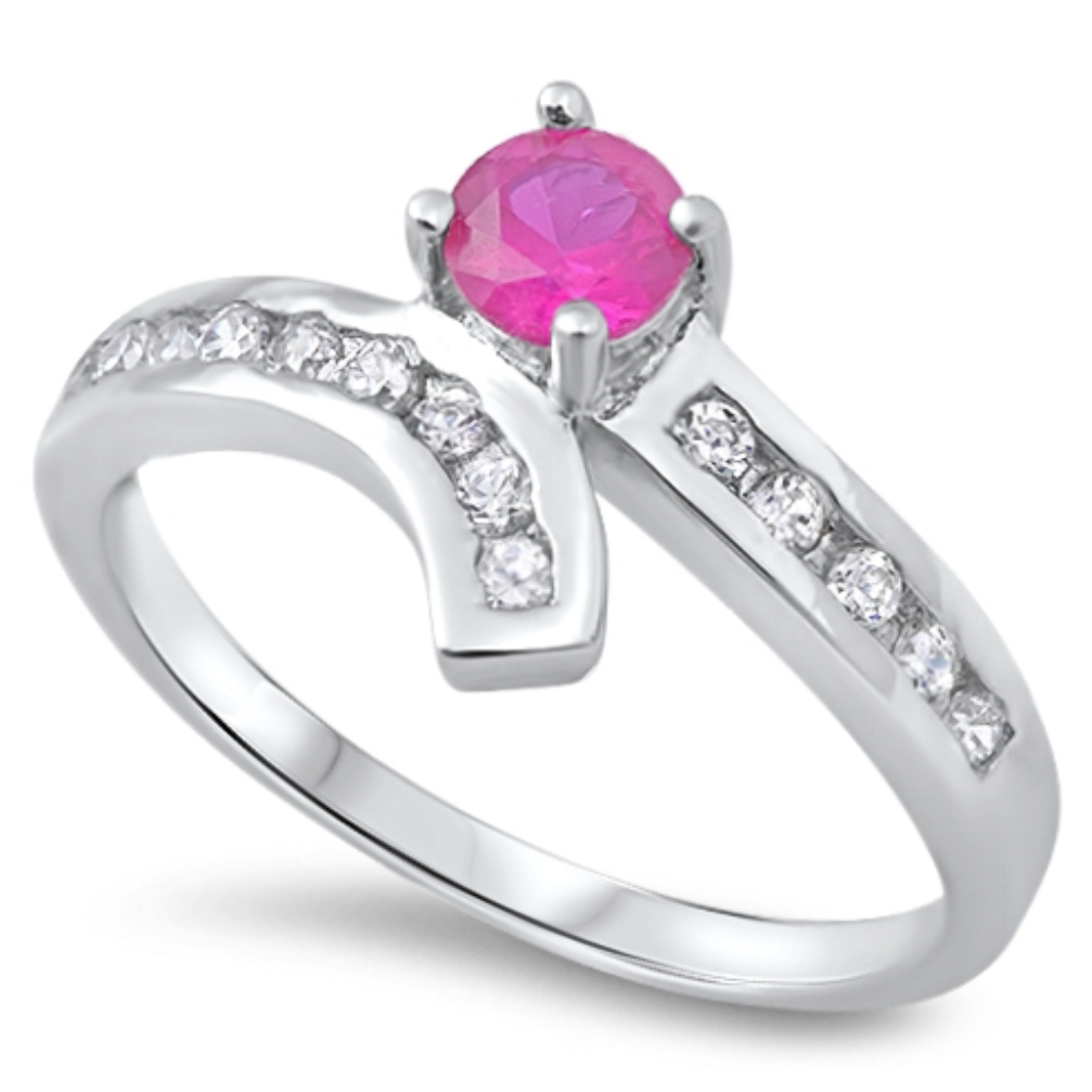 Womens brilliant round cut red ruby solitaire ring