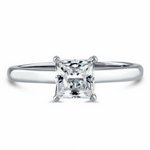 Womens square cut princess solitaire ring