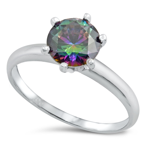 Womens rainbow engagement solitaire ring