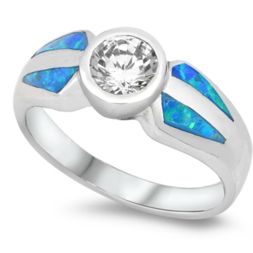 Clear and blue opal vintage look womans ring in sterling silver