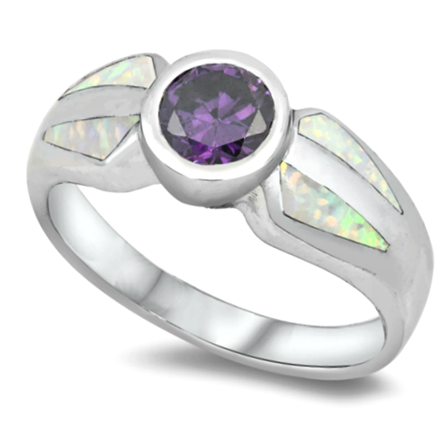 Purple and white rainbow opal vintage look womans ring in sterling silver