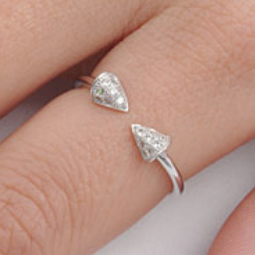 .925 Sterling Silver Triangle Spike CZ Ladies and Girls Ring Size 4-10 Midi Adjustable