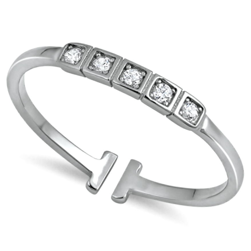 Stackable and adjustable womens silver ring with square cut setting and round cut gemstones